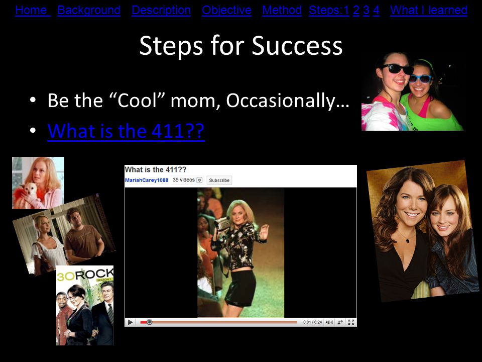 Steps for Success Hold jackets, bags, etc… at amusement parks/haunted houses Clean Home Home Background Description Objective Method Steps:1 2 3 4 What I learnedBackgroundDescriptionObjectiveMethodSteps:1234What I learned