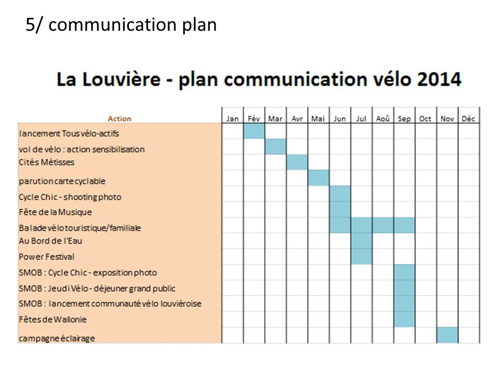 5/ communication plan