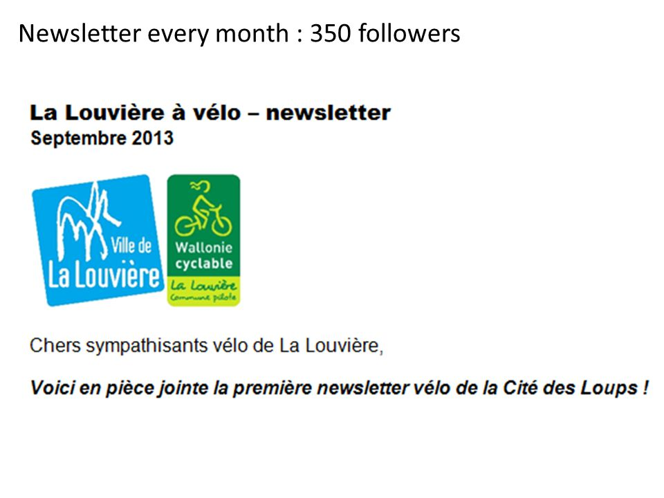 Newsletter every month : 350 followers