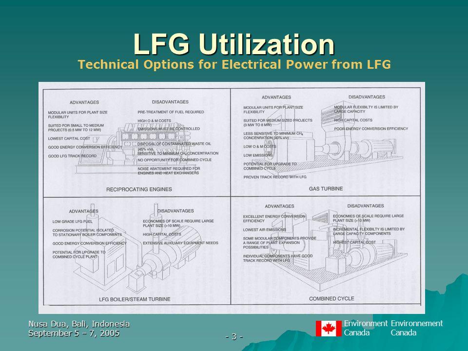 EnvironmentEnvironnementCanada Nusa Dua, Bali, Indonesia September 5 – 7, 2005 - 3 - LFG Utilization Technical Options for Electrical Power from LFG