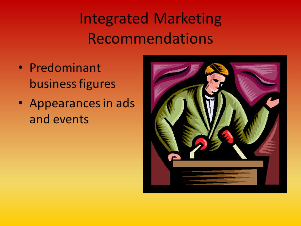 Integrated Marketing Recommendations Predominant business figures Appearances in ads and events