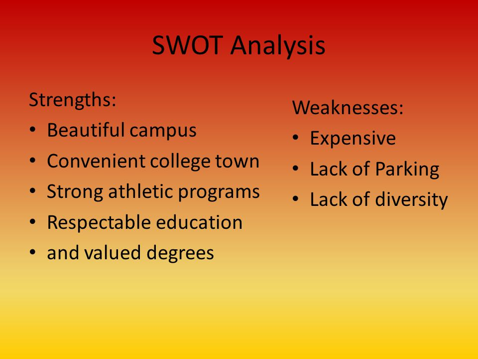 SWOT Analysis Strengths: Beautiful campus Convenient college town Strong athletic programs Respectable education and valued degrees Weaknesses: Expensive Lack of Parking Lack of diversity