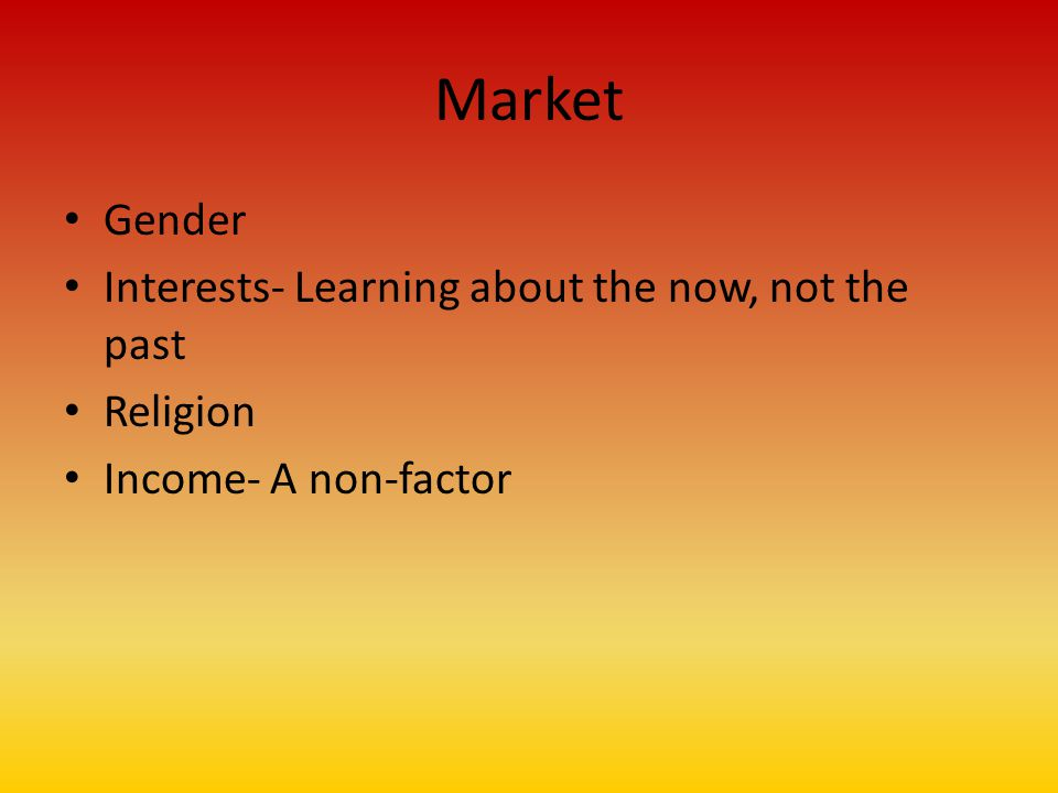 Market Gender Interests- Learning about the now, not the past Religion Income- A non-factor