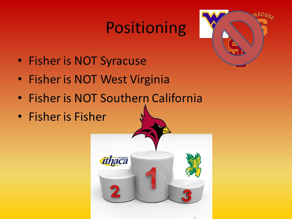 Positioning Fisher is NOT Syracuse Fisher is NOT West Virginia Fisher is NOT Southern California Fisher is Fisher