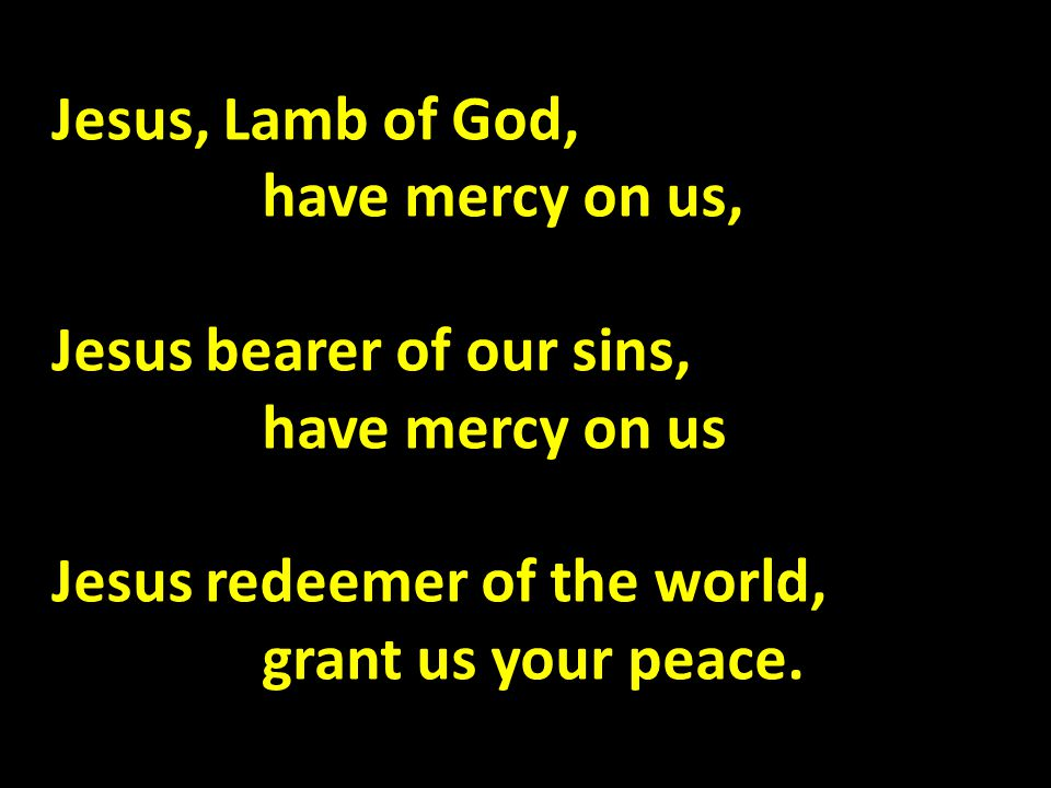 Jesus, Lamb of God, have mercy on us, Jesus bearer of our sins, have mercy on us Jesus redeemer of the world, grant us your peace.