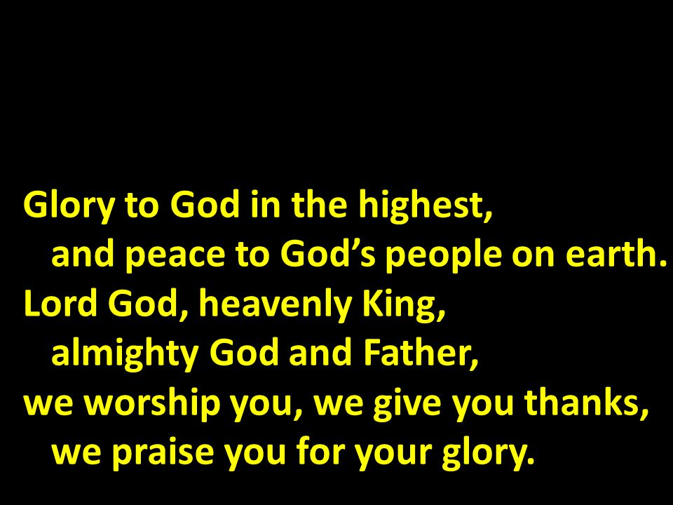 Glory to God in the highest, and peace to God's people on earth.