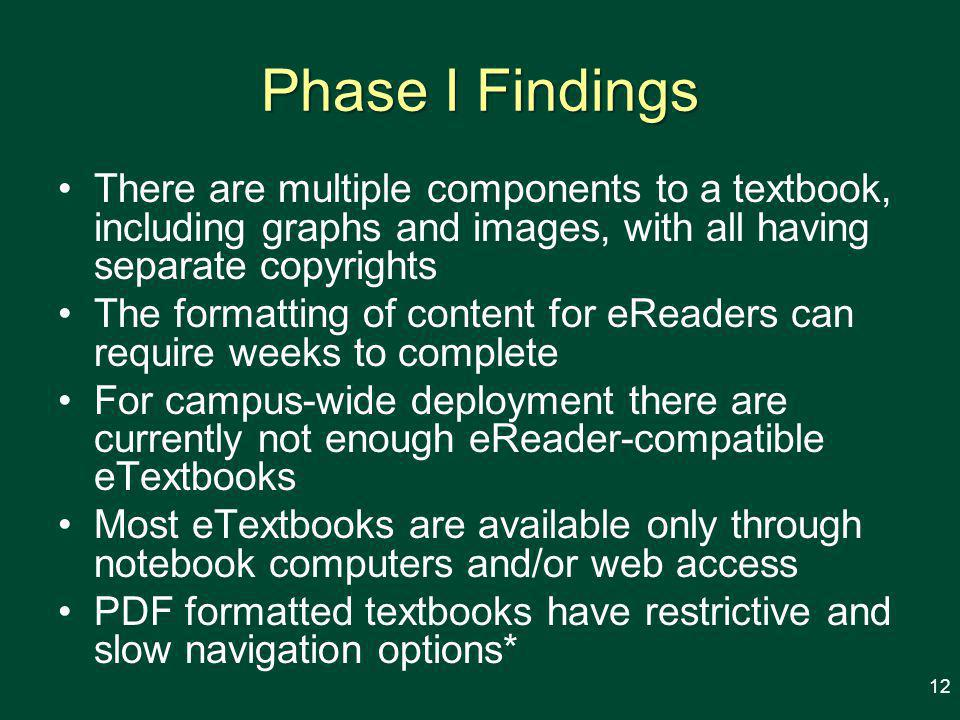 Phase I Findings There are multiple components to a textbook, including graphs and images, with all having separate copyrights The formatting of content for eReaders can require weeks to complete For campus-wide deployment there are currently not enough eReader-compatible eTextbooks Most eTextbooks are available only through notebook computers and/or web access PDF formatted textbooks have restrictive and slow navigation options* 12