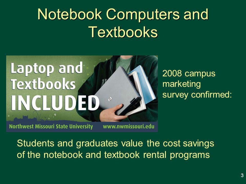 Notebook Computers and Textbooks Students and graduates value the cost savings of the notebook and textbook rental programs 2008 campus marketing survey confirmed: 3