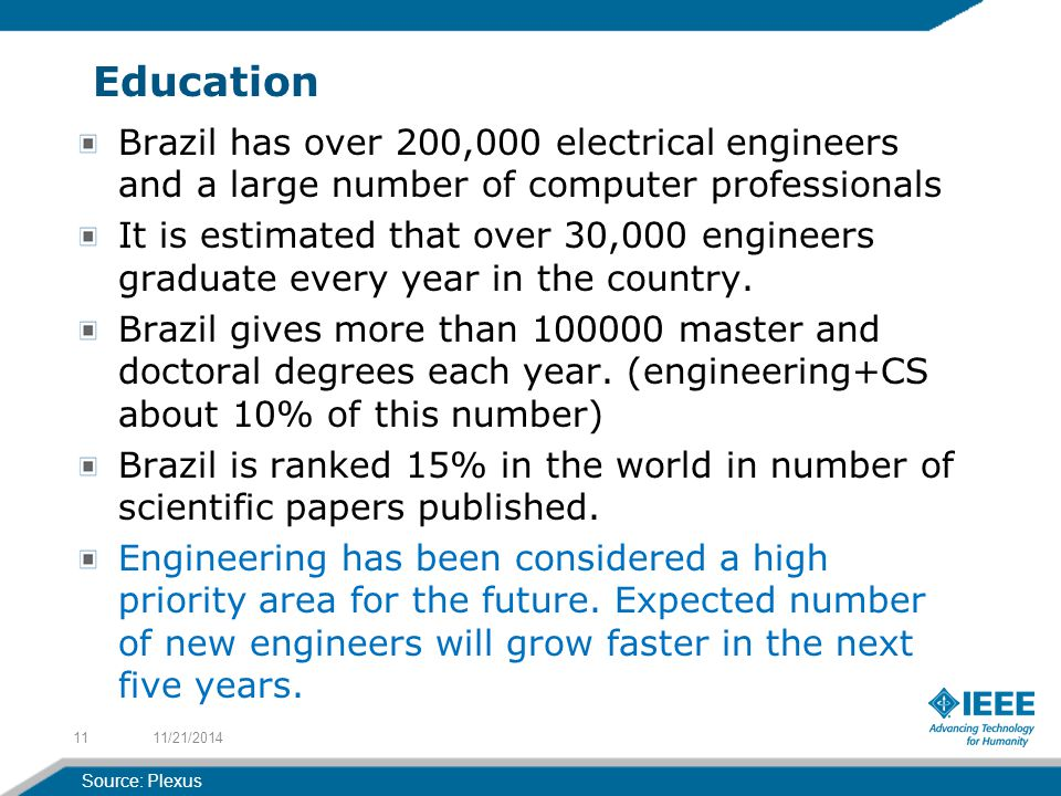 Education Brazil has over 200,000 electrical engineers and a large number of computer professionals It is estimated that over 30,000 engineers graduate every year in the country.