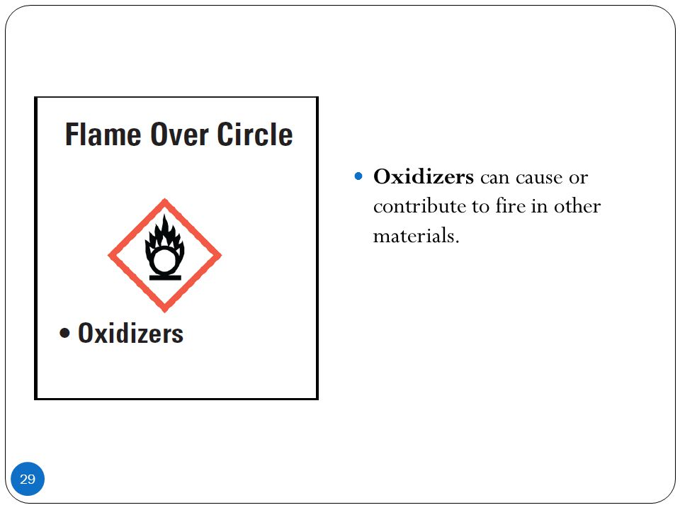 29 Oxidizers can cause or contribute to fire in other materials.