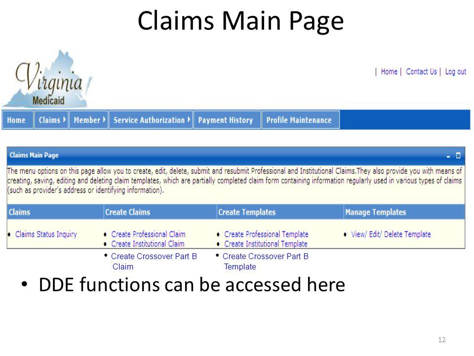Claims Menu-Access 11