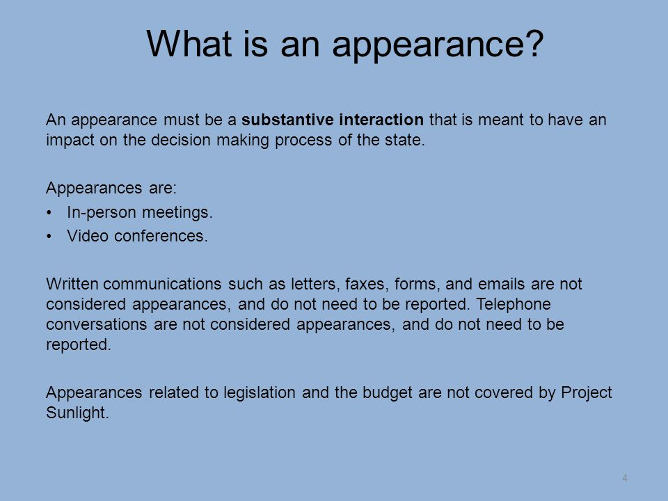 What is an appearance.