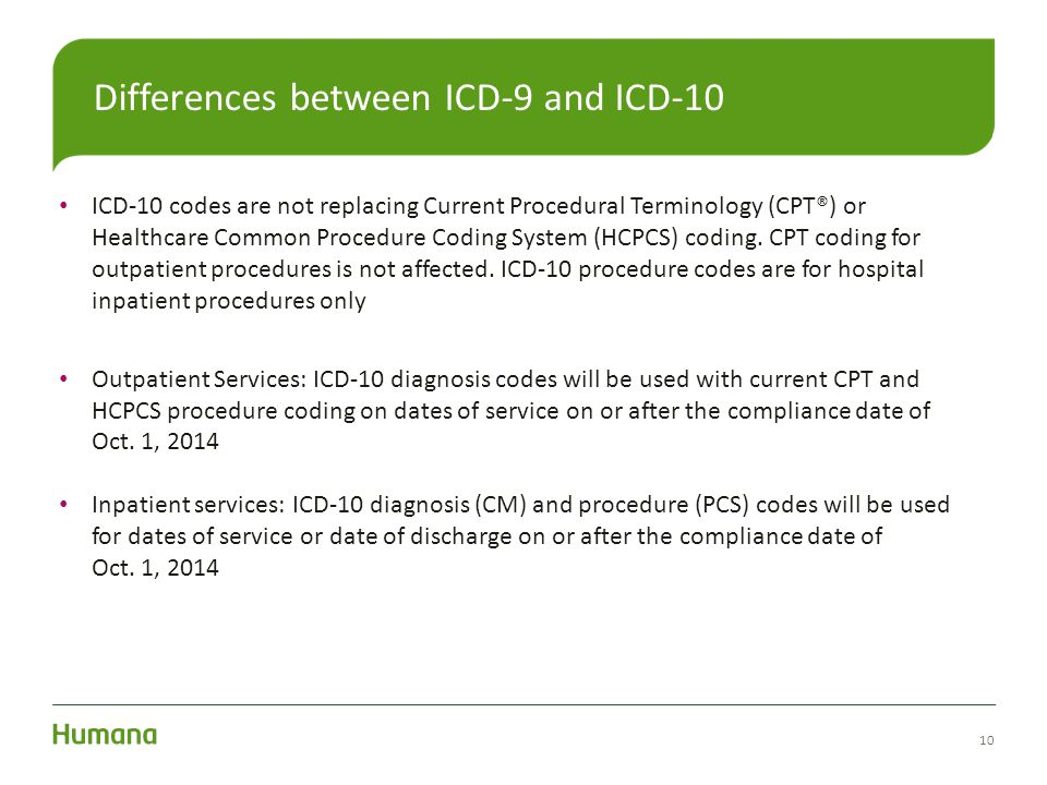 10 Differences between ICD-9 and ICD-10 ICD-10 codes are not replacing Current Procedural Terminology (CPT®) or Healthcare Common Procedure Coding Sys