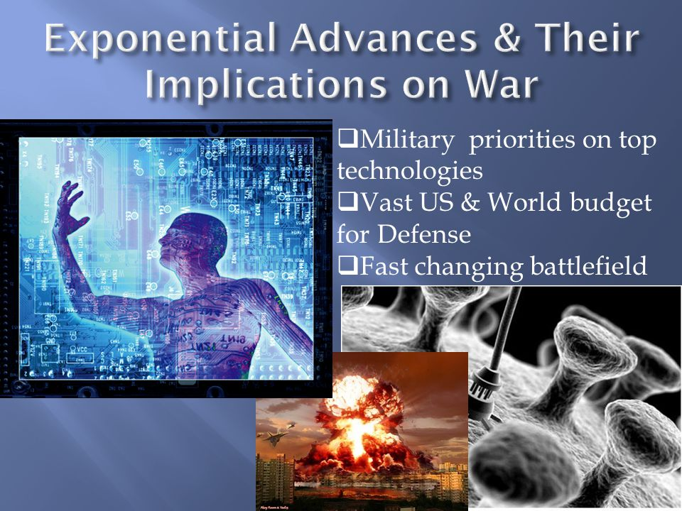  Military priorities on top technologies  Vast US & World budget for Defense  Fast changing battlefield