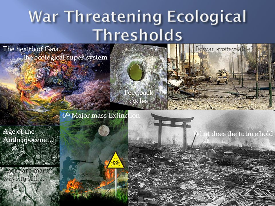 What does the future hold The health of Gaia… ……the ecological super-system Is war sustainable.