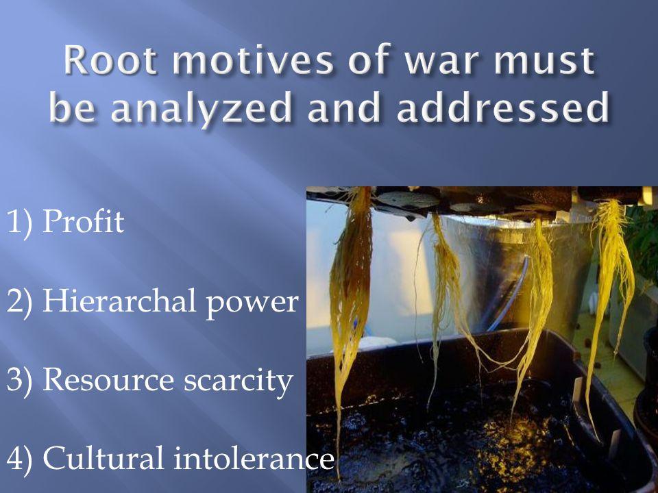 1) Profit 2) Hierarchal power 3) Resource scarcity 4) Cultural intolerance