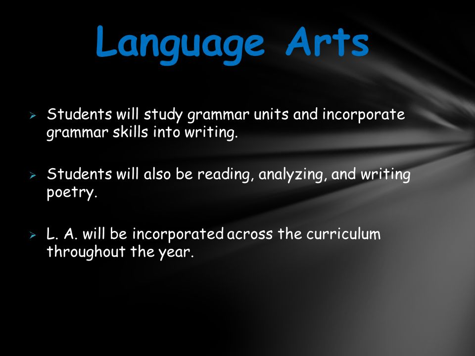  Students will study grammar units and incorporate grammar skills into writing.