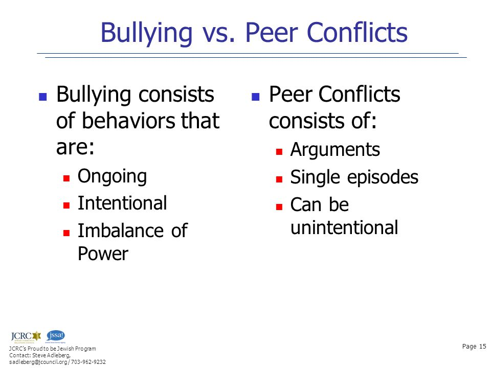 Bullying vs. Peer Conflicts Bullying consists of behaviors that are: Ongoing Intentional Imbalance of Power Peer Conflicts consists of: Arguments Sing
