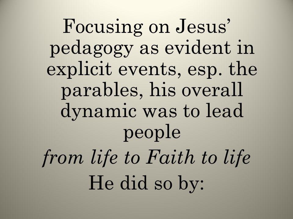 Focusing on Jesus' pedagogy as evident in explicit events, esp.