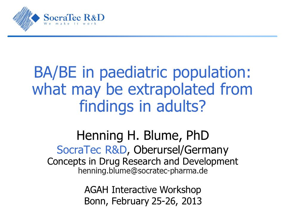 BA/BE in paediatric population: what may be extrapolated from findings in adults.