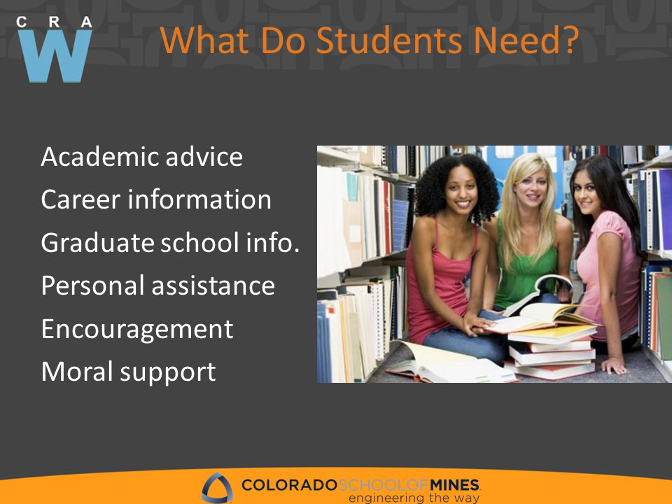 What Do Students Need. Academic advice Career information Graduate school info.