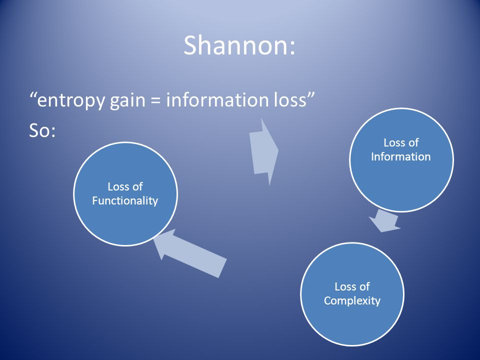 Shannon: entropy gain = information loss So: Loss of Information Loss of Complexity Loss of Functionality