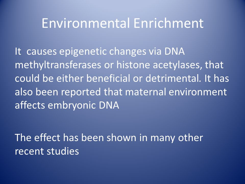 Environmental Enrichment It causes epigenetic changes via DNA methyltransferases or histone acetylases, that could be either beneficial or detrimental.
