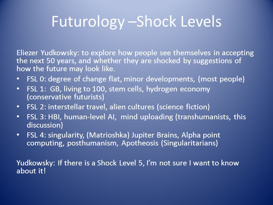 Futurology –Shock Levels Eliezer Yudkowsky: to explore how people see themselves in accepting the next 50 years, and whether they are shocked by suggestions of how the future may look like.