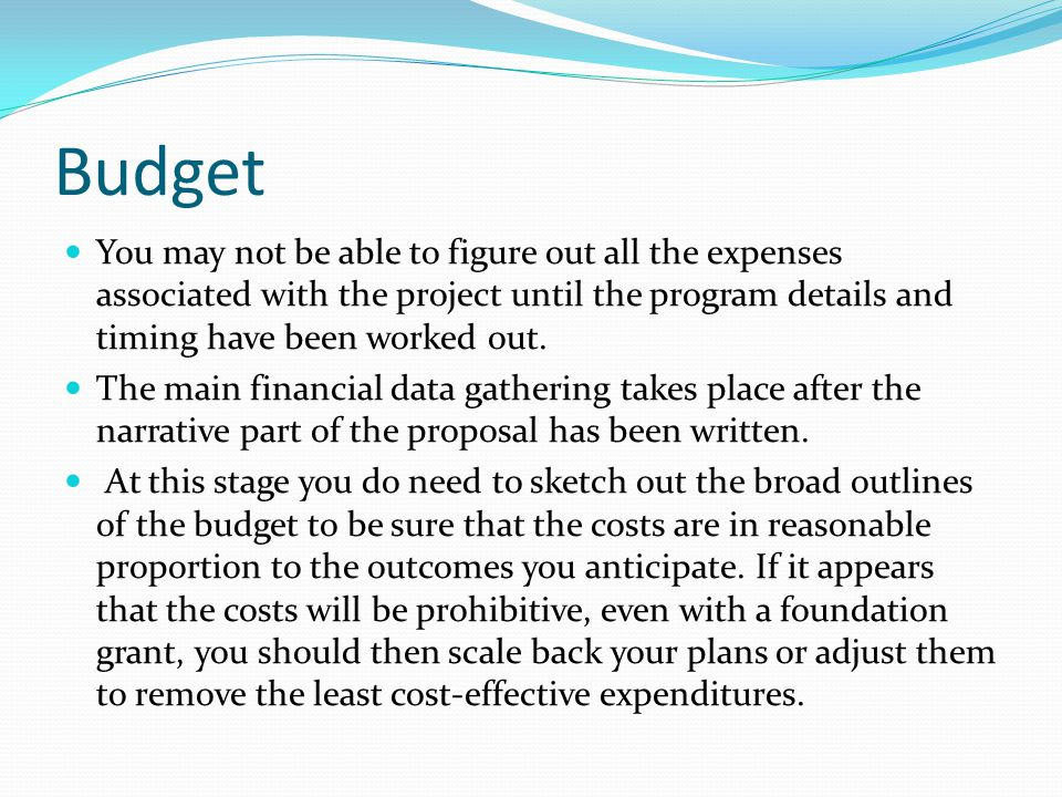 Budget You may not be able to figure out all the expenses associated with the project until the program details and timing have been worked out.