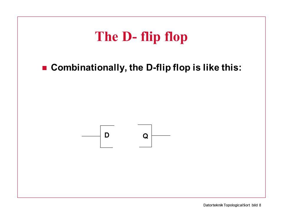 Datorteknik TopologicalSort bild 8 The D- flip flop Combinationally, the D-flip flop is like this: D Q