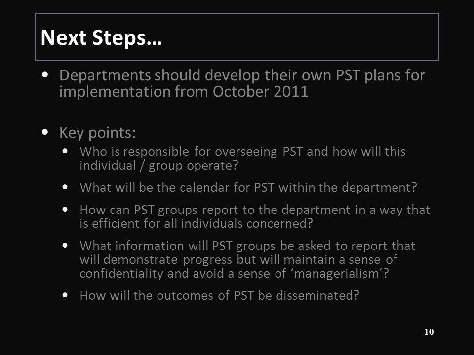 Next Steps… Departments should develop their own PST plans for implementation from October 2011 Key points: Who is responsible for overseeing PST and