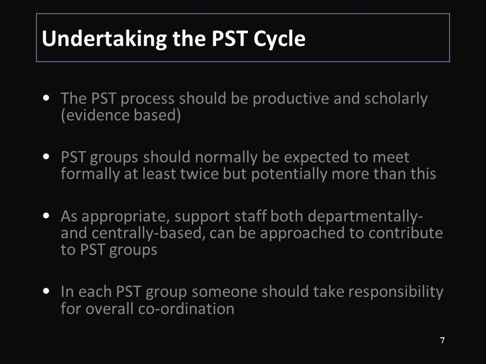 Undertaking the PST Cycle The PST process should be productive and scholarly (evidence based) PST groups should normally be expected to meet formally at least twice but potentially more than this As appropriate, support staff both departmentally- and centrally-based, can be approached to contribute to PST groups In each PST group someone should take responsibility for overall co-ordination 7