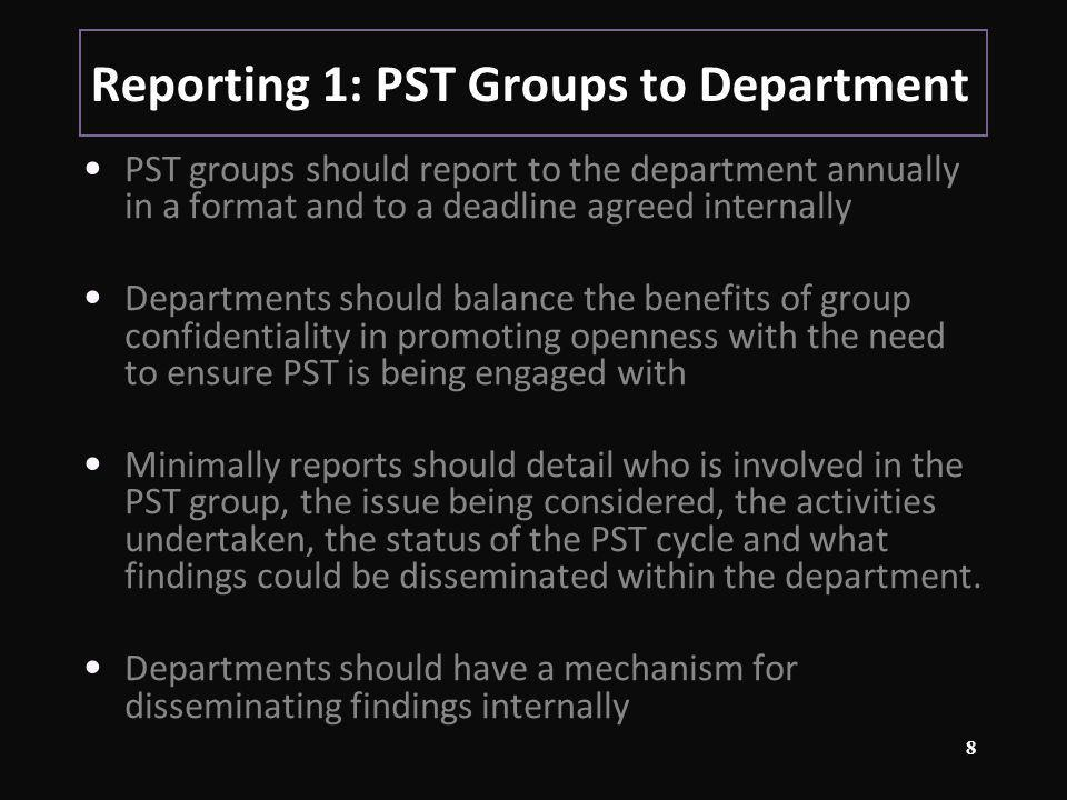 Reporting 2: Department to University Departments should refer to PST in their APRs Departmental records of PST should be made available to groups / panels who visit to audit / review L&T provision (e.g.