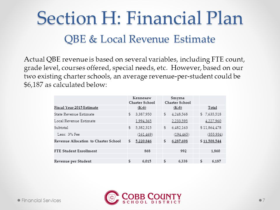 7Financial Services Section H: Financial Plan Actual QBE revenue is based on several variables, including FTE count, grade level, courses offered, special needs, etc.