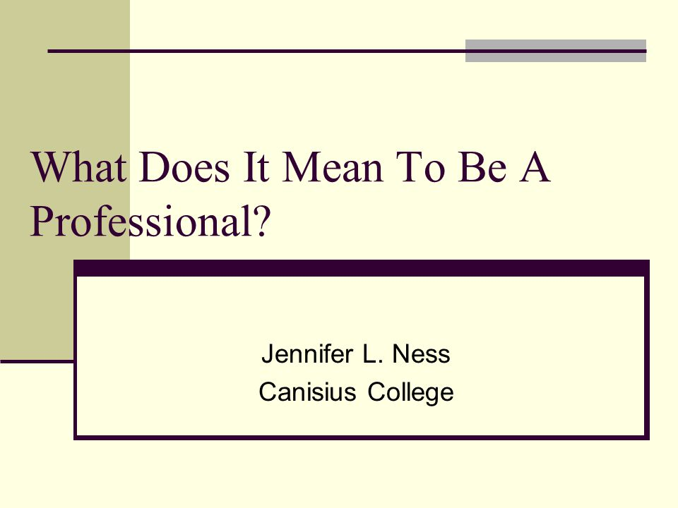 What Does It Mean To Be A Professional? Jennifer L. Ness Canisius College
