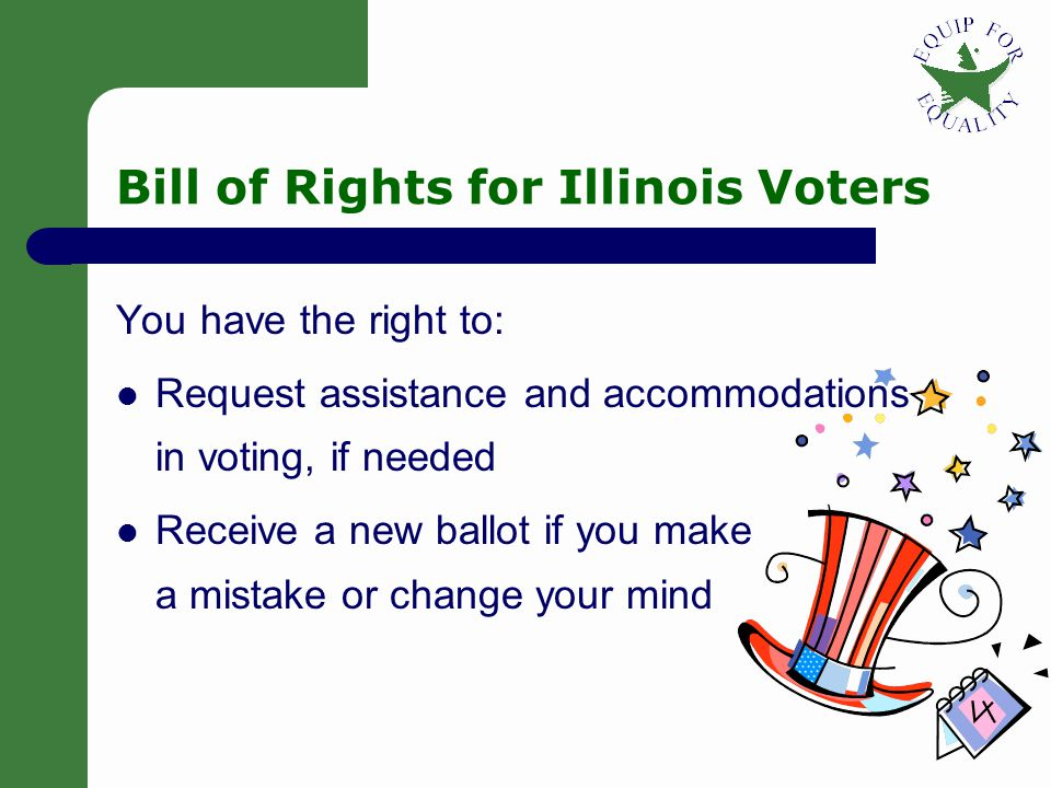 15 Voting Rights Understand that you've got the power – You are a voter.