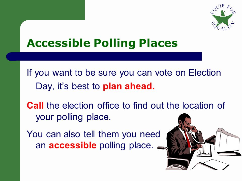 17 3 Ways to Vote in Illinois 1. Go to an early voting place before Election Day Between 22 and five days before the election 2. Go to your polling pl
