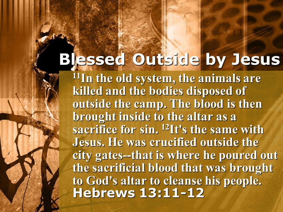11 In the old system, the animals are killed and the bodies disposed of outside the camp. The blood is then brought inside to the altar as a sacrifice