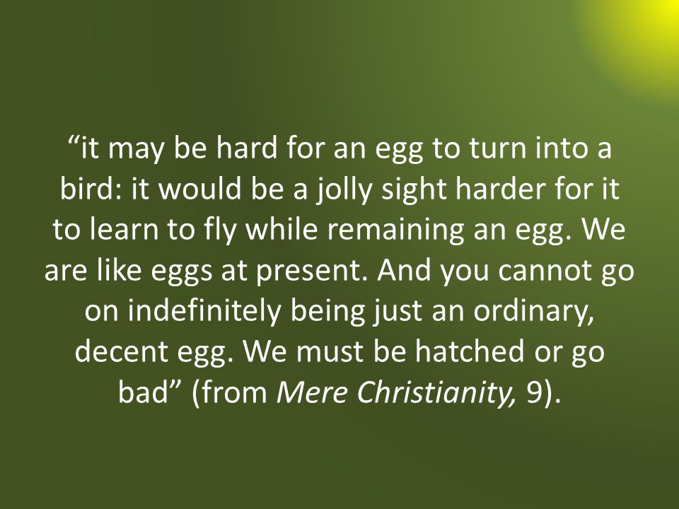it may be hard for an egg to turn into a bird: it would be a jolly sight harder for it to learn to fly while remaining an egg.
