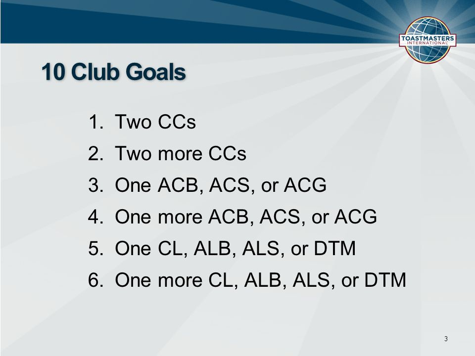 1.Two CCs 2.Two more CCs 3.One ACB, ACS, or ACG 4.One more ACB, ACS, or ACG 5.One CL, ALB, ALS, or DTM 6.One more CL, ALB, ALS, or DTM 3 10 Club Goals