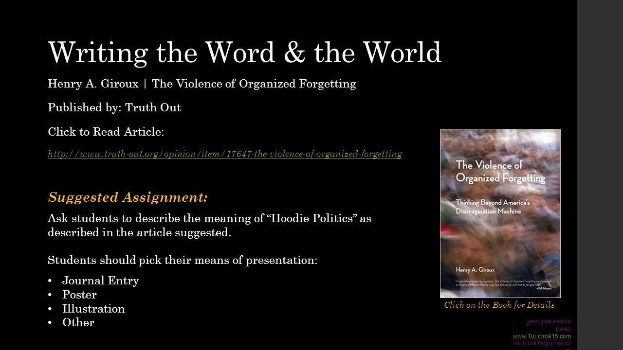 Writing the Word & the World georgina cecilia p é rez www.TuLibro915.com TuLibro915@gmail.co m Click on the Book for Details Henry A.