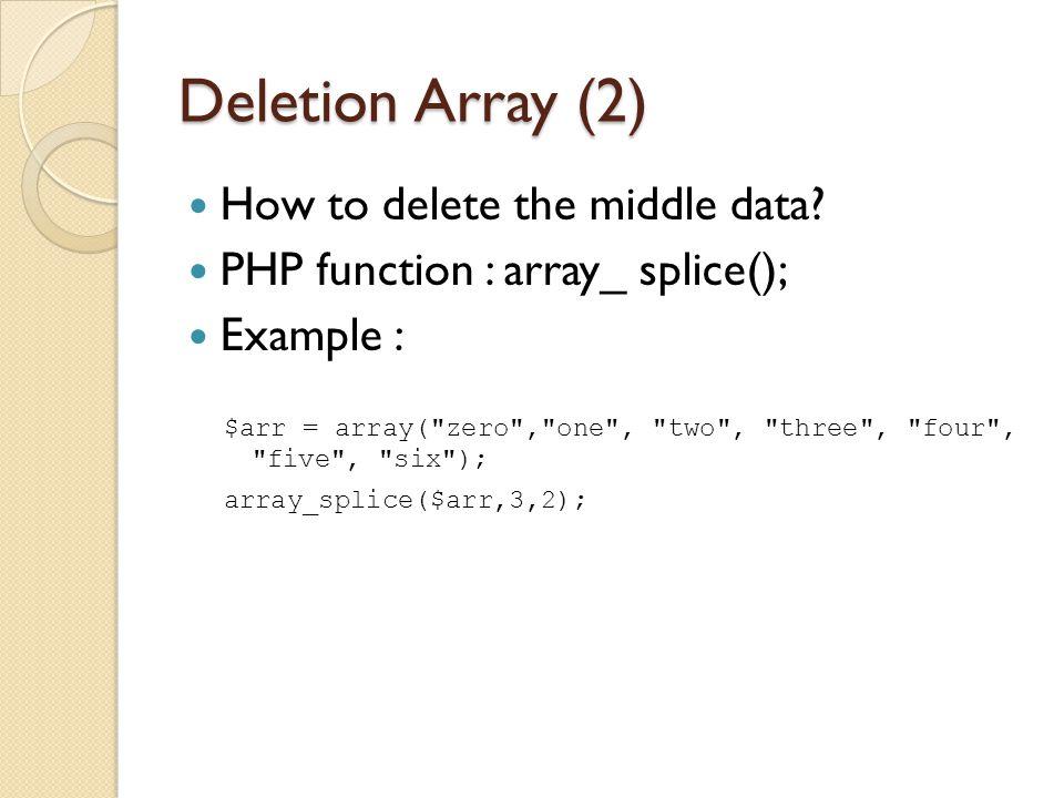 Sorting Array (1) Used to sort array data PHP function : sort(); Example : $nama = array( abi , bobo , cica , ani ); sort($nama);