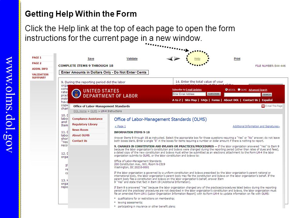 Menu Items www.olms.dol.gov The menu across the top of the form contains the following items: 1.Save and Calculate – Click this item to save the current page and perform all mathematical calculations.