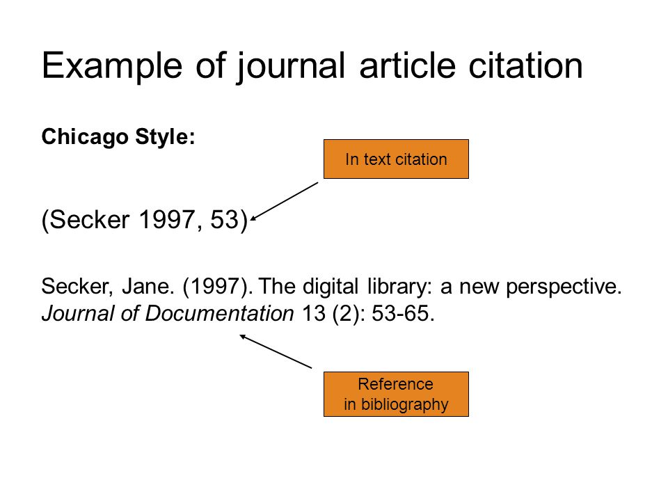 Example of journal article citation Chicago Style: (Secker 1997, 53) Secker, Jane. (1997). The digital library: a new perspective. Journal of Document