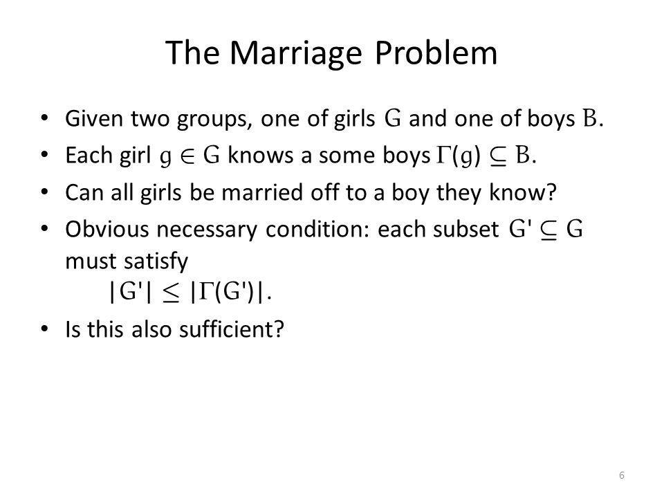 The Marriage Problem Given two groups, one of girls G and one of boys B. Each girl g 2 G knows a some boys  ( g ) µ B. Can all girls be married off t