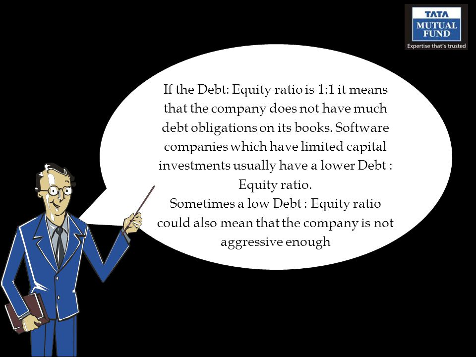If the Debt: Equity ratio is 1:1 it means that the company does not have much debt obligations on its books.
