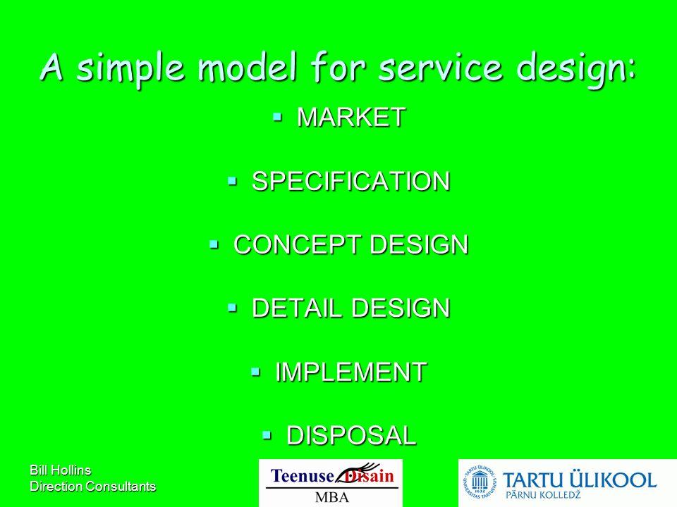 Bill Hollins Direction Consultants A simple model for service design:  MARKET  SPECIFICATION  CONCEPT DESIGN  DETAIL DESIGN  IMPLEMENT  DISPOSAL