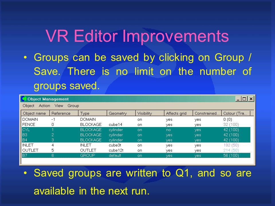 VR Editor Improvements Groups can be saved by clicking on Group / Save.