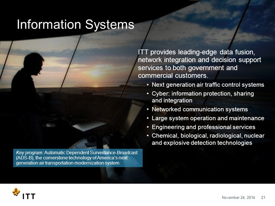 November 24, 201421 Information Systems ITT provides leading-edge data fusion, network integration and decision support services to both government an