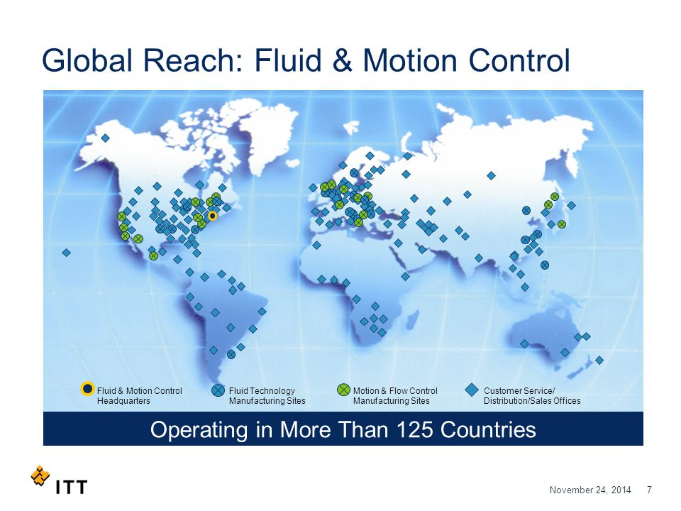 November 24, 20147 Global Reach: Fluid & Motion Control Customer Service/ Distribution/Sales Offices Motion & Flow Control Manufacturing Sites Operati